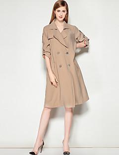 여성 솔리드 V 넥 긴 소매 트렌치 코트,단순한 캐쥬얼/데일리 작동 보통 폴리에스테르 가을