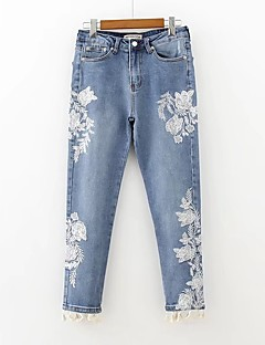 Damen Street Schick Mittlere Hüfthöhe Mikro-elastisch Jeans Lose Hose,Quaste Bestickt Stickerei
