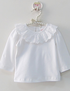 Baby Solid Color Lace Tee-100%Cotton-Spring/Fall-