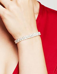 Dame Vedhend Armband Rhinstein Rhinestone Elegant Brude Luksus Smykker kostyme smykker Dobbelt lag Sølvplett Fuskediamant Firkant Formet