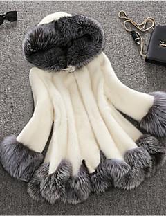 Langærmet Hætte Pelskrave Damer Lang Ensfarvet Vinter Simple Afslappet/Hverdag Pelsfrakke,Imiteret pels