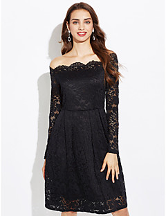 Women's Going out Plus Size Sexy Street chic A Line Lace Dress,Solid Off Shoulder Knee-length Long Sleeves Polyester Spring Fall Mid Rise