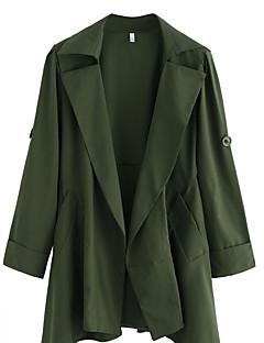 여성 솔리드 셔츠 카라 긴 소매 트렌치 코트,스트리트 쉬크 데이트 캐쥬얼/데일리 긴 나일론 봄