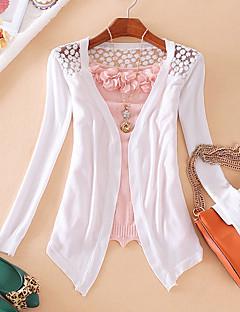 Damen Standard Strickjacke-Lässig/Alltäglich Solide V-Ausschnitt Langarm Polyester Frühling Dünn Mikro-elastisch