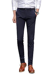 Herren Einfach Mittlere Hüfthöhe Mikro-elastisch Anzug Chinos Gerade Schlank Hose Solide