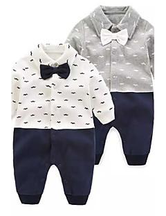 bebê Peça Única Fashion Cor Única Floral / Botânico Outono Primavera 100% algodão Manga Longa