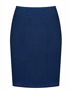 Women's Work Casual/Daily Knee-length Skirts,Street chic Pencil Solid Spring Fall