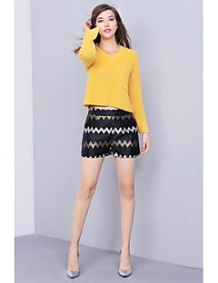 Damer Simpel Afslappet/Hverdag Normal Pullover Ensfarvet,V-hals Langærmet Bomuld Efterår Medium Mikroelastisk