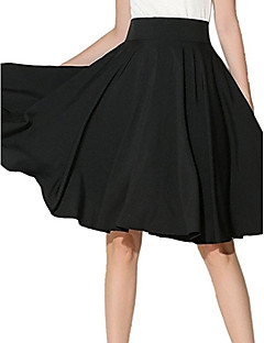 Women's Casual/Daily Midi Skirts Swing Solid Summer