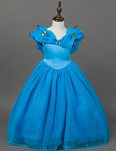 Dívka je Hedvábí Bavlna Umělé hedvábí Polyester Jednobarevné Celý rok Šaty,Bez rukávů