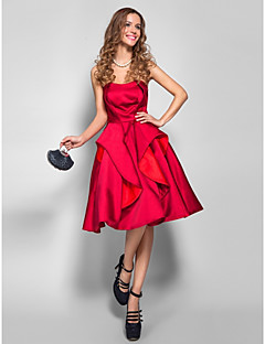 A-Line Strapless Knee Length Satin Cocktail Party Homecoming Prom Holiday Company Party Dress with Pleats by TS Couture®