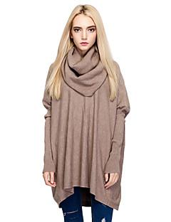 Damen Lang Pullover-Ausgehen Lässig/Alltäglich Einfach Street Schick Solide Kapuze Langarm Baumwolle Nylon Herbst Winter Mittel