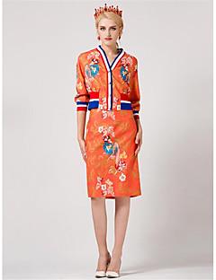 Damen Solide Druck Einfach Lässig/Alltäglich T-Shirt-Ärmel Rock Anzüge,V-Ausschnitt Herbst Halbe Ärmel