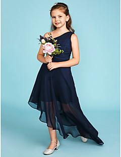 A-Şekilli Tek Omuz Asimetrik Şifon Çocuk Nedime Elbisesi ile Yan Drape tarafından LAN TING BRIDE®