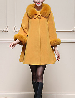 レディース カジュアル/普段着 プラスサイズ 冬 コート,シンプル ストリートファッション ピーターパンカラー ソリッド レギュラー ウール 長袖 リボン