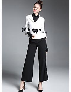 Feminino Terno Para Noite Moda de Rua Inverno,Estampa Colorida Padrão Poliéster Colarinho de Camisa Manga Longa