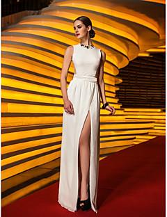 מעטפת \ עמוד עם תכשיטים עד הריצפה שיפון ג'רסי נשף ערב רישמי נשף צבאי שמלה עם שסע קדמי על ידי TS Couture®