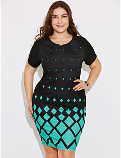 Damer Simpel I-byen-tøj Afslappet/Hverdag Plusstørrelser Bodycon Kjole Geometrisk Trykt mønster,Rund hals Knælang Kortærmet Polyester