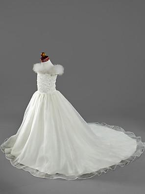 Lanting Bride A-Linie / Princess Velmi dlouhá vlečka Šaty pro květinovou družičku - Organza / Satén Krátký rukáv Spadlý sAplikace /
