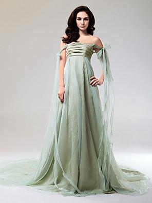 Evento Formal Vestido - Espalda Abierta Corte en A / Princesa Hombros al Aire / Sin Tirantes Corte / Watteau Organza / Tafetán conLazo(s)