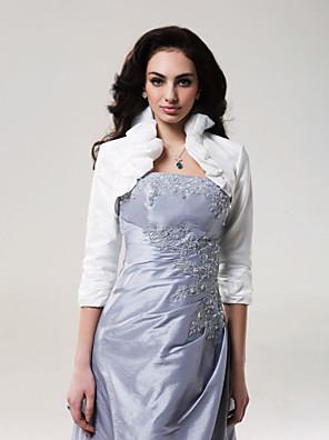 כורכת חתונה מעילים / מעילים אורך שרוול 3/4 טפטה שנהב חתונה צוואר גבוה קפלים פתח חזית