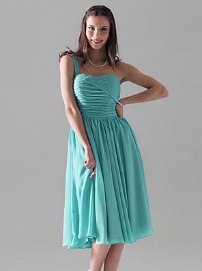 Lanting Bride® Tot de knie Chiffon Bruidsmeisjesjurk - A-lijn / Prinses Eén-schouder Grote maten / Petite met Plooien / Ruches