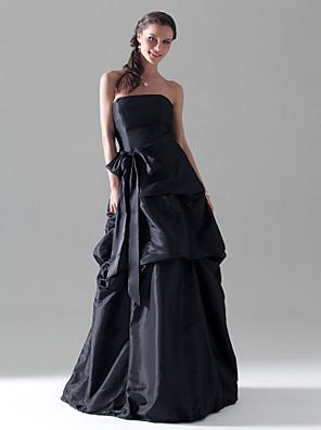 Lanting Bride® עד הריצפה טפטה שמלה לשושבינה  גזרת A / נסיכה סטרפלס פלאס סייז (מידה גדולה) / פטיט עם פפיון(ים) / כיווצים למעלה / סרט