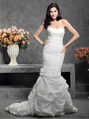 Lanting Bride® Sereia Pequeno / Tamanhos Grandes Vestido de Noiva - Clássico e atemporal Cauda Corte Coração Tafetá com