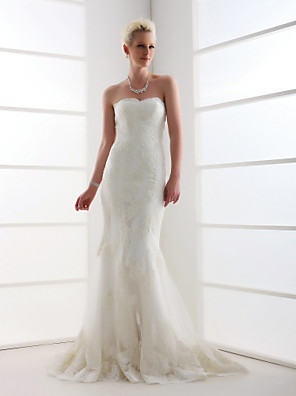 Lanting Bride® Trumpet / Mermaid Petite / Plus Sizes Wedding Dress - Classic & Timeless Vintage Inspired Sweep / Brush Train Sweetheart