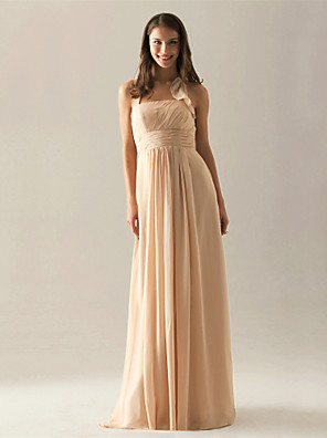 Floor-length Chiffon Bridesmaid Dress A-line Halter Plus Size / Petite with Draping / Ruffles / Pleats / Ruching
