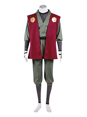 Inspirado por Naruto Jiraiya Anime Fantasias de Cosplay Ternos de Cosplay / Chimono Patchwork Vermelho Manga CompridaCapa de Kimono /