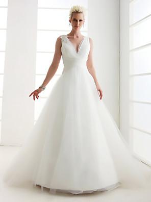 Lanting Bride® נסיכה קטן / מידה גדולה שמלת כלה - קלסי ונצחי בהשפעת וינטאג' עד הריצפה צווארון וי טול עם תחרה / פנינה / חרוזים / בד בהצלבה