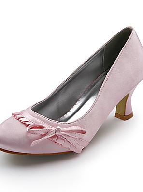 Women's Shoes Spring / Summer / Fall / Winter Heels Wedding Spool Heel Bowknot / Ruffles Pink / Ivory / Gold