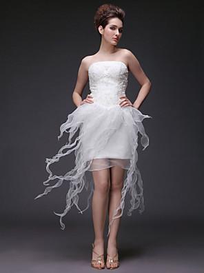 花嫁のシース/列小柄をランティング/プラスウェディングドレス非対称ストラップレスオーガンザ/サテンのサイズ