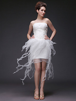 Lanting Bride Sheath/Column Petite / Plus Sizes Wedding Dress-Asymmetrical Strapless Organza / Satin