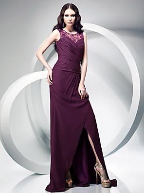 TS Couture® Formal Evening / Military Ball Dress - Elegant Plus Size / Petite Sheath / Column Jewel Sweep / Brush Train Chiffon withLace / Split