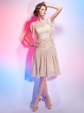 칵테일 파티 드레스 - 1920년대 A-라인 / 공주 보트넥 무릎 길이 쉬폰 와 드레이핑 / 레이스 / 주름장식 / 스팽글