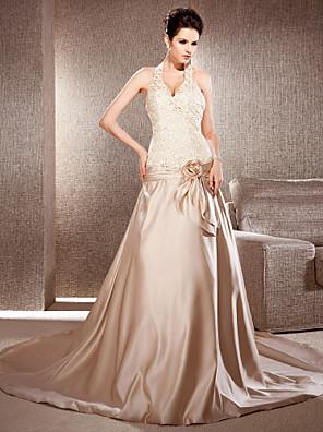 Lanting Bride A-line / Princess Petite / Plus Sizes Wedding Dress-Chapel Train V-neck Lace / Satin