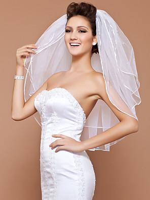 Véus de Noiva Três Camadas Véu Cotovelo Borda Lápis / Corte Pérola 31,5 cm (80cm) Tule Branco / MarfimLinha-A, Vestido de Baile,