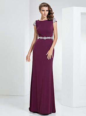 Prom / Formal Evening / Military Ball Dress Sheath / Column Bateau Sweep / Brush Train Linen with Beading / Lace / Sash / Ribbon