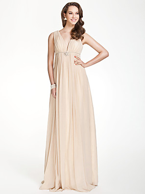 Floor-length Chiffon Bridesmaid Dress A-line V-neck Plus Size / Petite with Beading / Draping / Crystal Brooch / Pleats