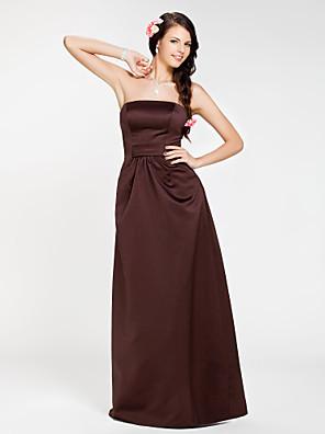 Floor-length Satin Bridesmaid Dress Sheath / Column Strapless Plus Size / Petite with Draping