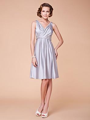 Lanting Bride® A-Linie Větší velikosti / Malé Šaty pro matku nevěsty Ke kolenům Bez rukávů Spandex - Korálky / Křišťály / Křížení