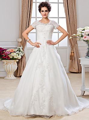 Lanting Bride® גזרת A קטן / מידה גדולה שמלת כלה - קלסי ונצחי שובל כנסייה (צ'אפל) מתחת לכתפיים אורגנזה עם