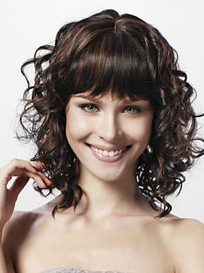 Capless Medium Curly Black 100% Human Hair Wig Full Bang