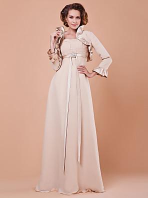 Lanting Bride® Pouzdrové Větší velikosti / Malé Šaty pro matku nevěsty - Včetně bolerka Na zem 3/4 délka rukávu Šifón / Satén - Křišťály