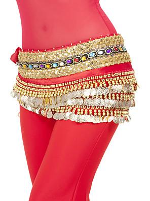 ריקוד בטן צעיפי מותן לריקודי בטן בגדי ריקוד נשים ביצועים / אימון פוליאסטר מטבעות / נצנצים חלק 1 טבעי צעיף מותניים לריקודי בטן