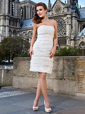 Lanting Bride Sheath/Column Petite / Plus Sizes Wedding Dress-Knee-length Strapless Lace / Organza
