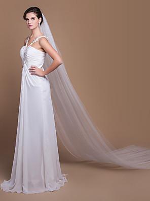 """הינומות חתונה שתי שכבות צעיפי קתדרלה חיתוך קצה 129.92 אינץ' (330 ס""""מ) טול לבן / שנהב קו A, שמלת נשף, נסיכה, חצוצרה / בת הים, נדן / טור"""