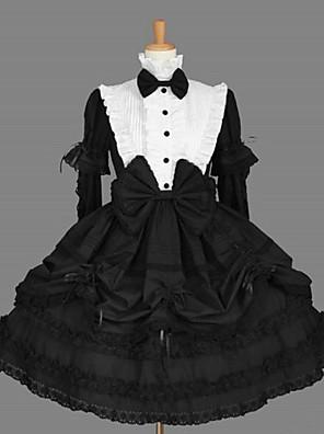 Manga longa na altura do joelho preta de algodão clássico vestido Escola Lolita com Cravat